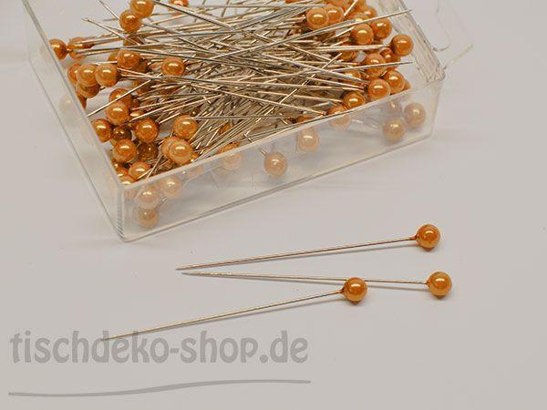 Deko-Nadel mit Perle Honig/Gold Ø 6mm