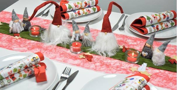 Tischdeko weihnachten rot-grün  Tischdekoration in Rot Grün mit Wichteln kaufen | Tischdeko-Shop