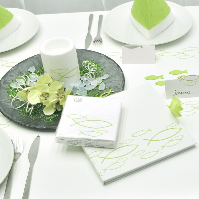 Tischdekoration Fisch Grun Weiss Zur Kommunion Konfirmation