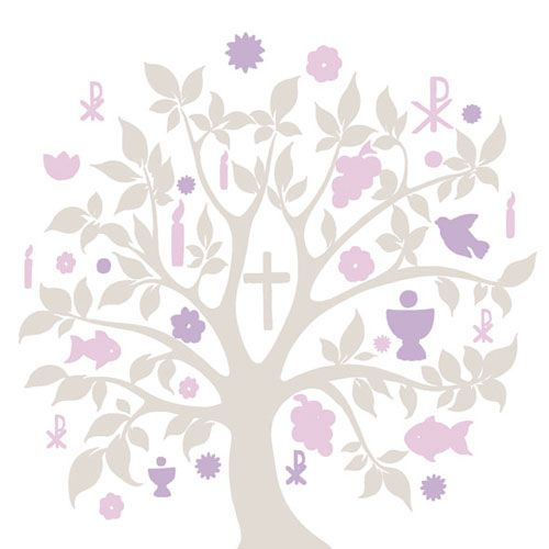 Serviette Communion Symbols Taupe 33x33cm 20er Pack