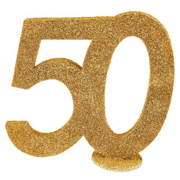 Zahl 50 Gold Glitter Aufsteller bei tischdeko-Shop.de