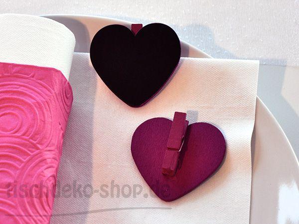 Namenskärtchen Herz mit Klammer Schwarz/Pink 5x5cm 6er Set