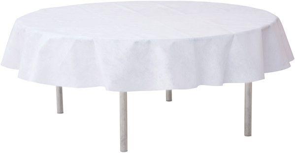 Tischdecke rund Weiß Vlies 2,40 m für Bankett-Tische bei Tischdeko-Shop.de