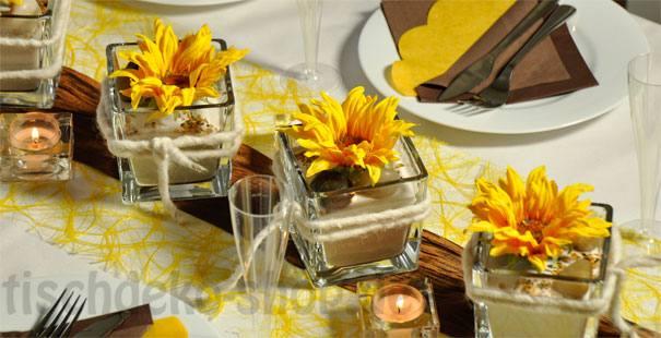 Tischdekoration zur hochzeit in gelb und braun for Tischdeko shop