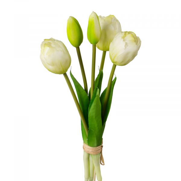 Tulpenstrauß mit Kurzstiel Weiß 5 gefüllte Tulpen 28 cm bei Tischdeko-Shop.de