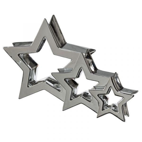 Deko-Stern Inside Keramik Silber glänzend