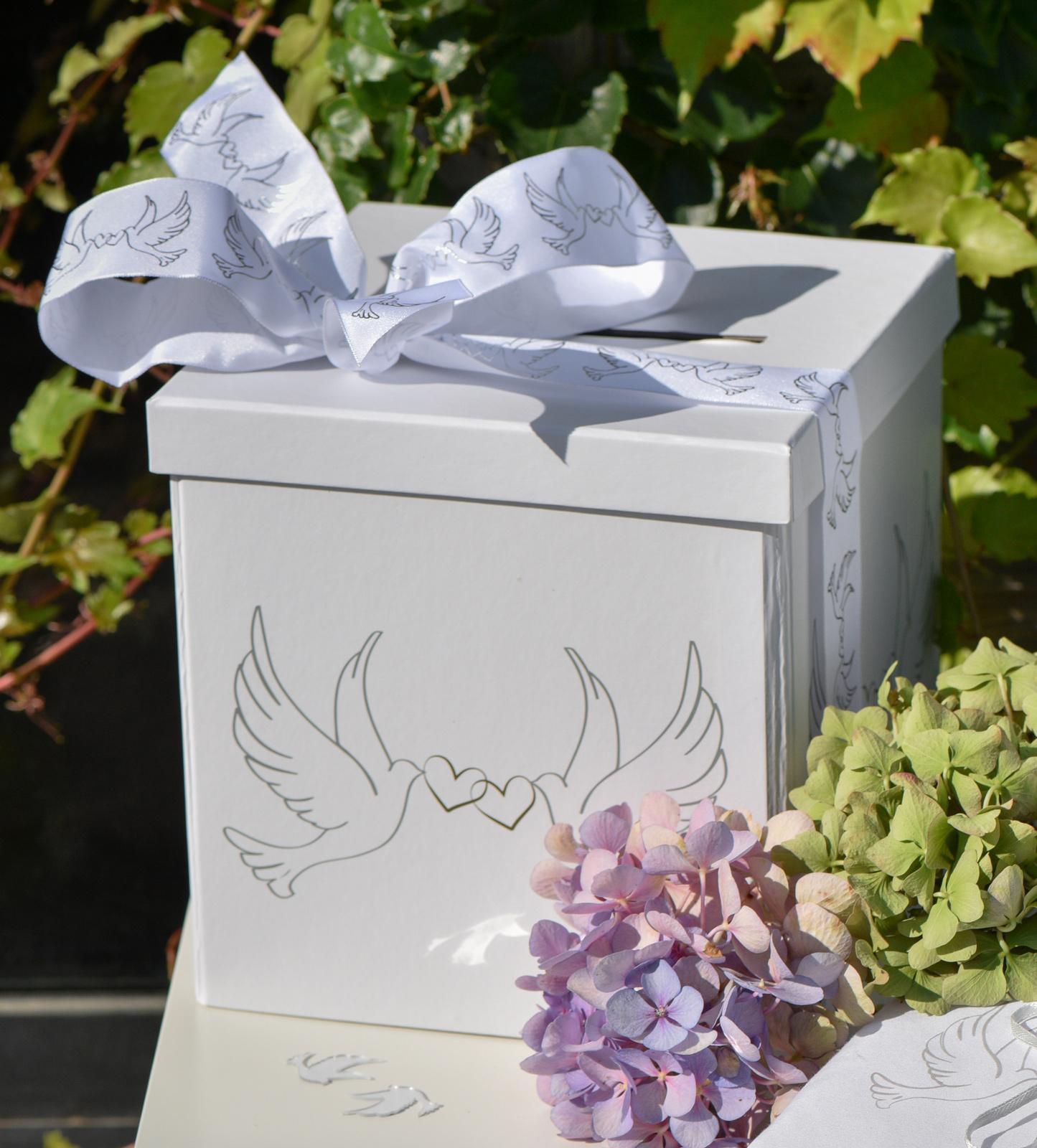 Briefbox Geldbox Kartenbox Hochzeitsmotivtauben Mit Herz Weiß 20x20x20cm