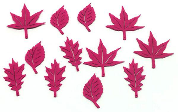 Streudeko Filz Blätter Fuchsia / Pink 12er Set bei Tischdeko-Shop.de