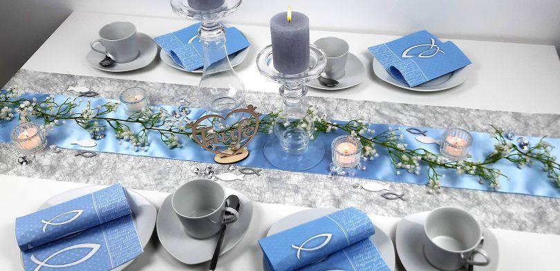 Tischdekoration In Blau Silber Kaufen Tischdeko Shop De