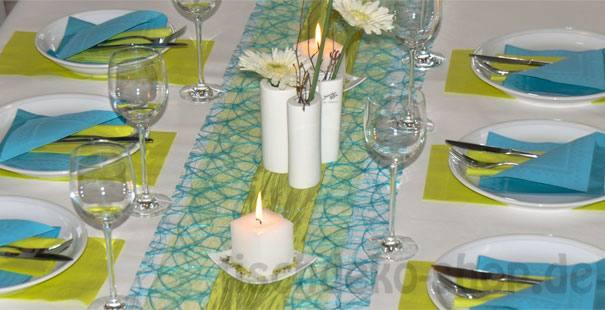 Silvester-Tischdekoration in Türkis und Grün