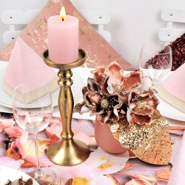 Dekobeispiel Kerzenständer Alu Gold H 25cm bei Tischdeko-Shop.de
