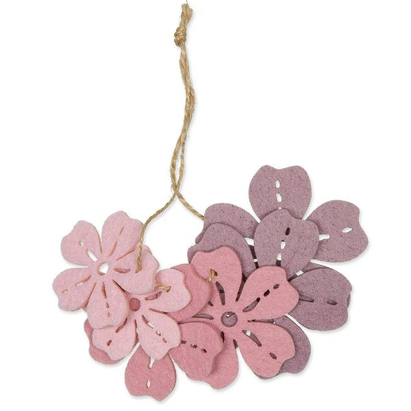 Streudeko Blüten Filz Light Rose/Lilac 4-6.5cm 6er Set