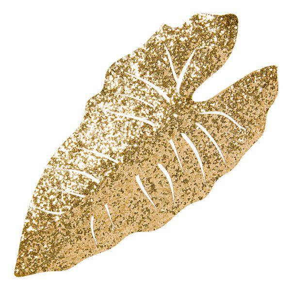 Deko-Blätter Palmblatt Gold Glitter 25x12 cm bei Tischdeko-Shop.de