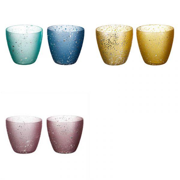 Teelicht Glas Sprinkle 7x7cm 4er Set