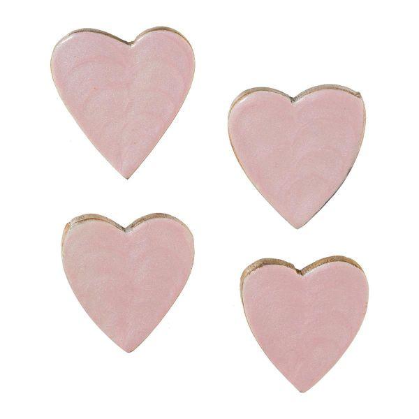 Streudeko-Herzen Holz Rosa lackiert 5cm 6er-Vorteilspack