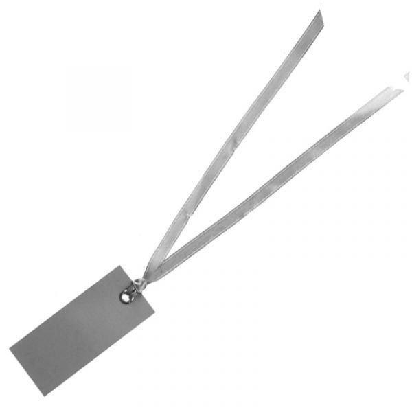 Namenskärtchen mit Satinband Grau 12 Stück bei Tischdeko-Shop.de