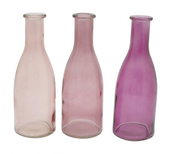 Glas-Vase Flasche rosa/fuchsia 3er Set 18cm