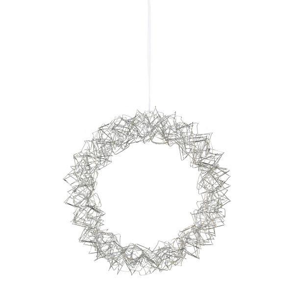 Draht Kranz rund mit Hänger 35 LED Silber m 6 h Timer bei Tischdeko-Shop.de