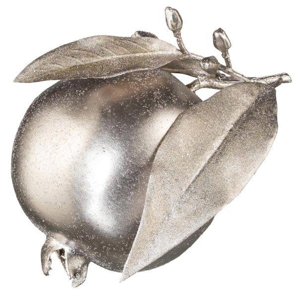 Granatapfel Silber mit Glitzer D12,5cm bei Tischdeko-Shop.de