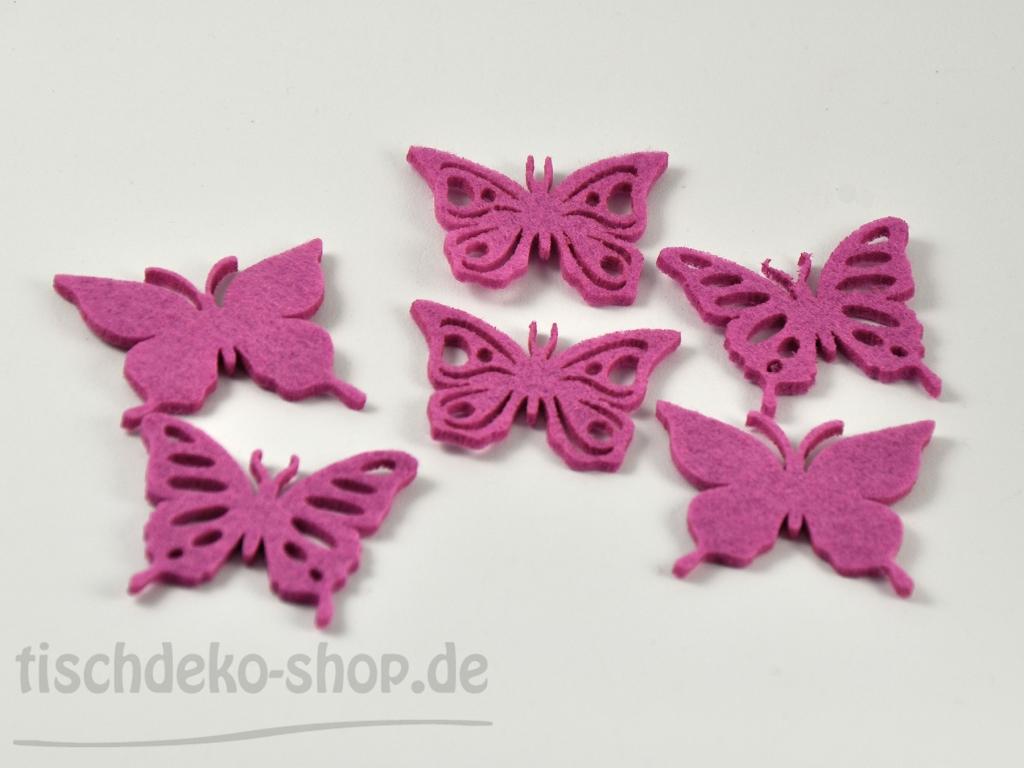 Schmetterlinge filz streu fuchsia 6 5cm sort for Tischdeko shop