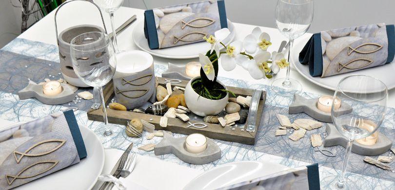 Tischdekoration In Hellblau Pearl Mit Fischen Tischdeko Shop