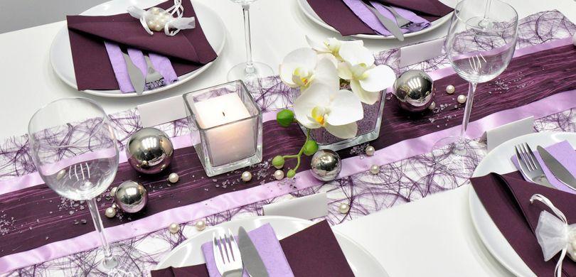Tischdekoration In Aubergine Flieder Kaufen Tischdeko Shop