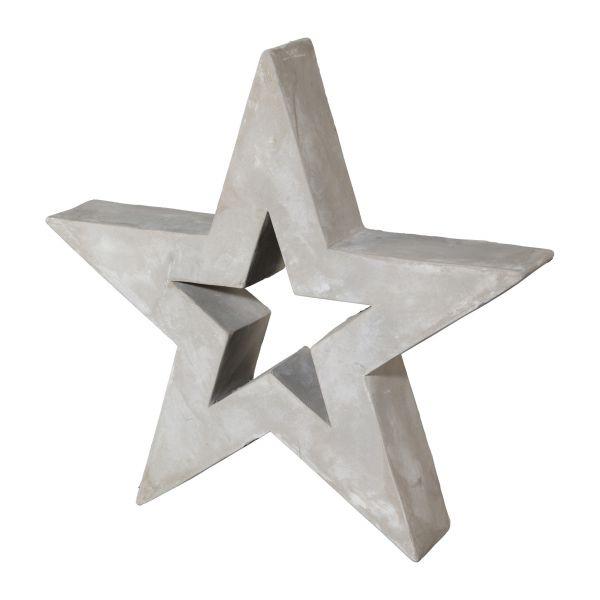 Zement-Stern offen 17 cm Grau bei Tischdeko-Shop.de