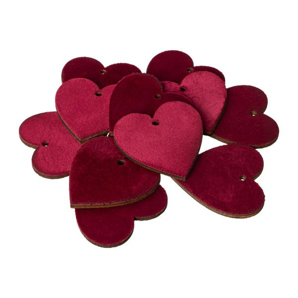 Holz-Herzen  mit rotem Samt mit Kordel 5 cm 12er Set bei Tischdeko-Shop.de