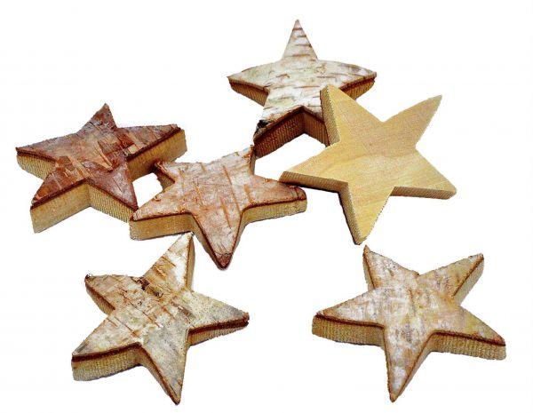 Birken Sterne Streu Holz 6 Stück ca.7x1.5cm bei Tischdeko-Shop.de