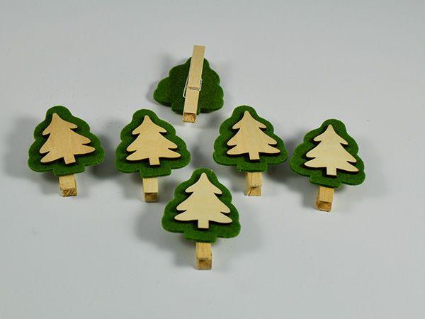 Holz-Clip Tannenbaum 6 Stück Grün/Natur