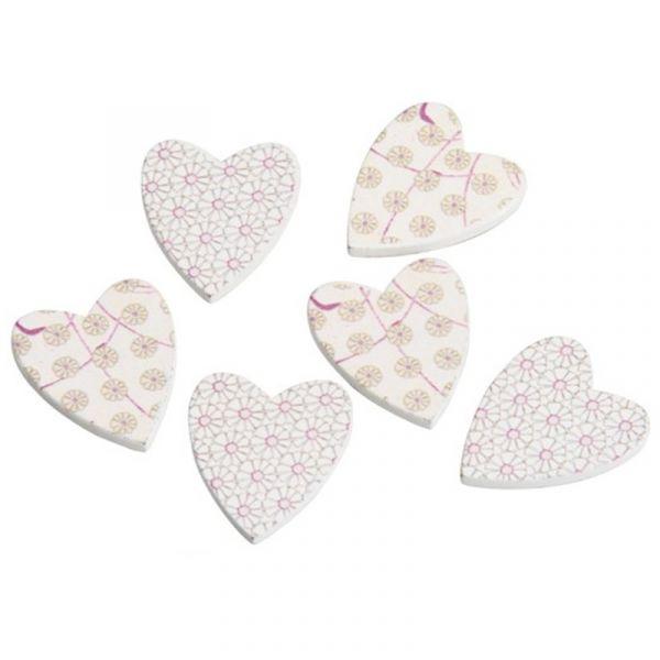 Streudeko Herz Holz beige/pink 18 Stück ca. 2.5cm
