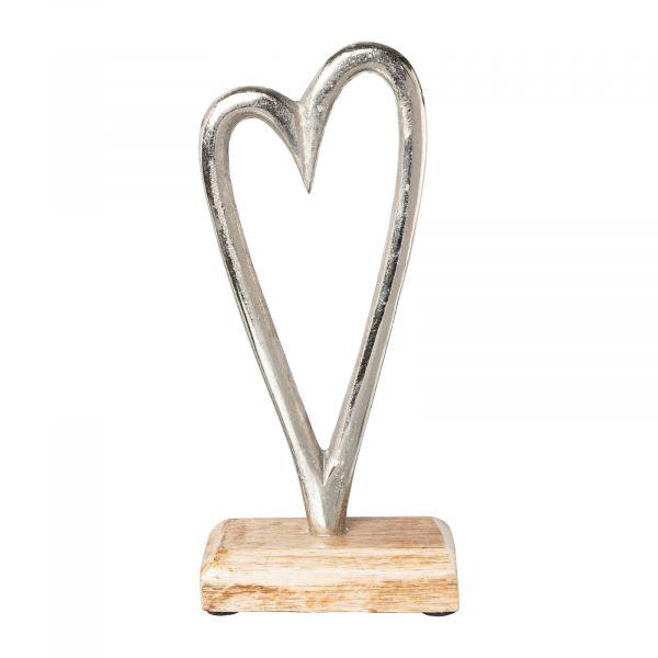 Metall-Herz offen auf Holzfuß 23 cm bei Tischdeko-Shop.de
