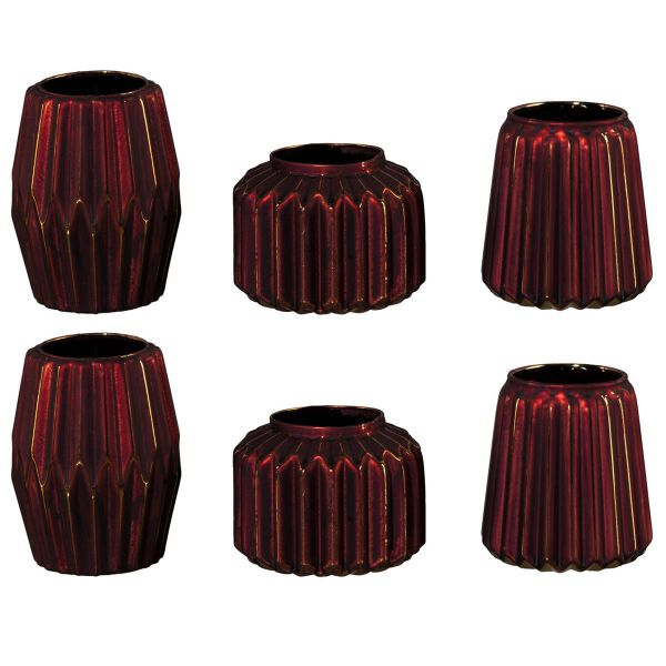 Glas Vasen-Set Stratos Bordeaux Gold 3 moderne Formen 6er Set bei Tischdeko-Shop.de