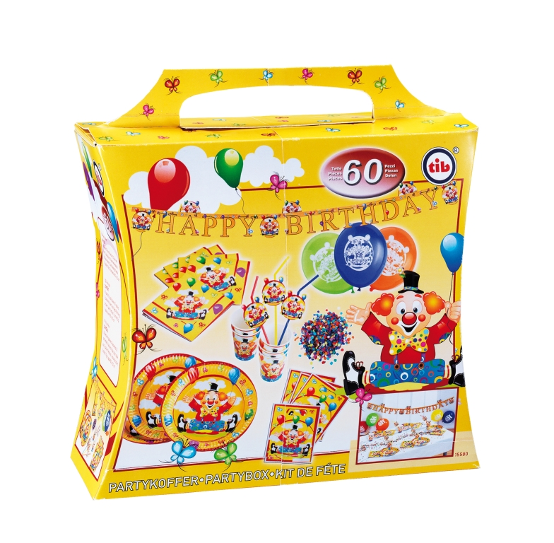 Party Koffer Happy Birthday Clown 60 Teile 8 Personen