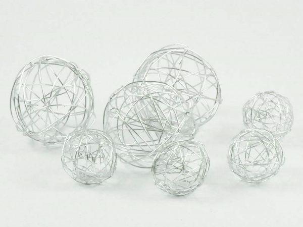 Deko-Kugeln Drahtbälle Silber 7-teilig sortiert