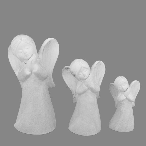 Betender Deko Engel Grau-Weiß Silber gewischt Keramik 3 Größen bei Tischdeko-Shop.de