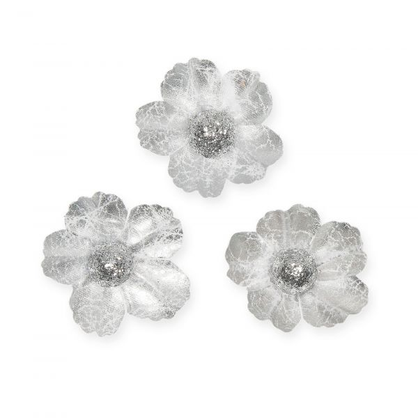Streublüten Silber mit Glitter-Kugel D 4,5cm bei Tischdeko-Shop.de