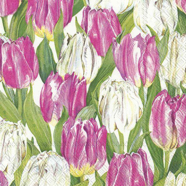 Frühlingsserviette Osterserviette Modern Tulips 33x33cm bei Tischdeko-Shop.de