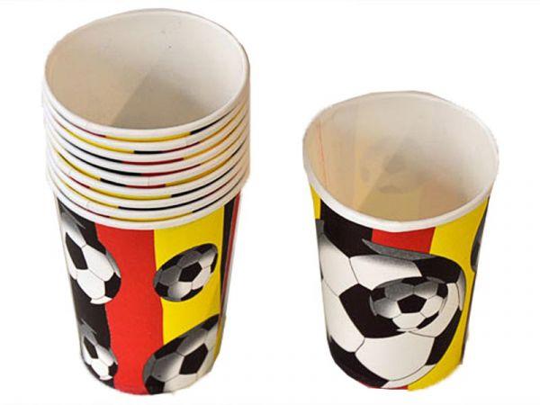 Papp-Trinkbecher Deutschland mit Fußball-Motiv 10 Stück