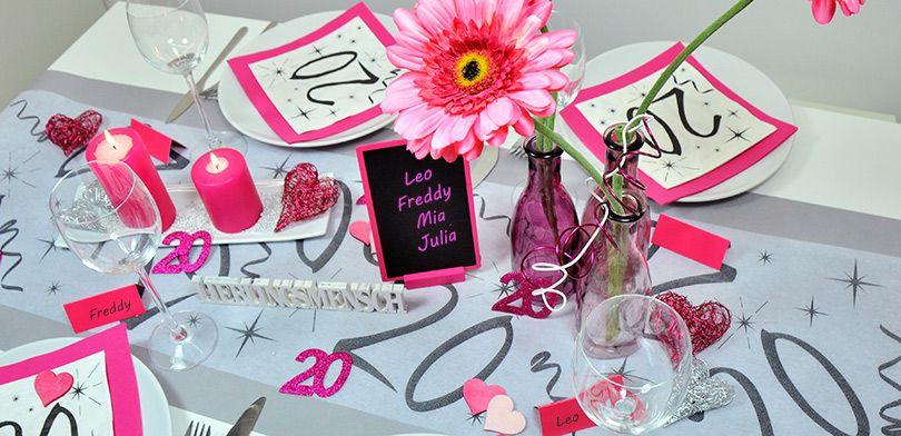 Tischdekoration Zum 20 Geburtstag In Pink