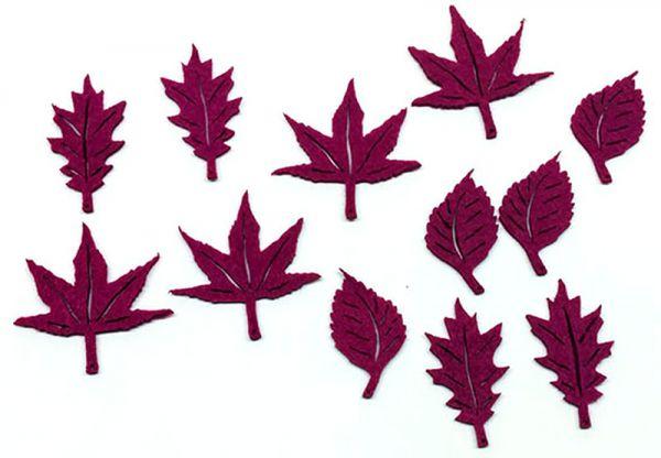 Streudeko Filz Blätter Purple / Aubergine 12er Set bei Tischdeko-Shop.de