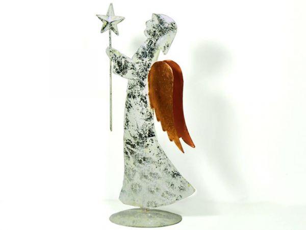 Deko-Engel mit Stern Vintage Metall Weiß Silber Kupfer 41cm