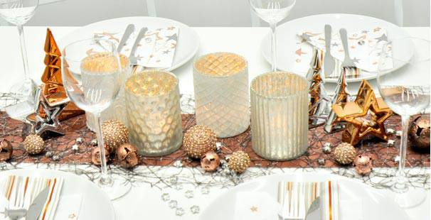 Tischdekoration In Grau Silber Kupfer Kaufen Tischdeko Shop