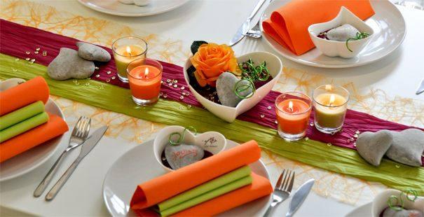 Orange / Fuchsia / Grün online kaufen - Tischdeko-Shop.de