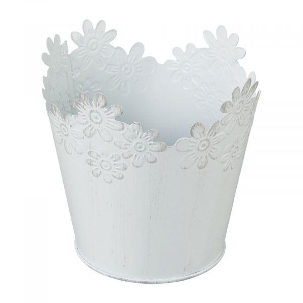 Zink Übertopf Blossom Weiß 8,5x9cm bei Tischdeko-Shop.de