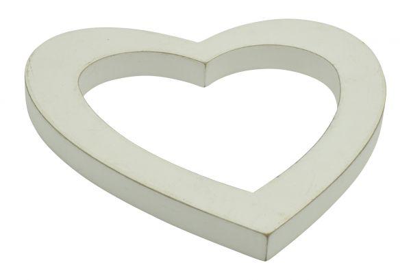Antikholz Herz 22x22cm Weiß