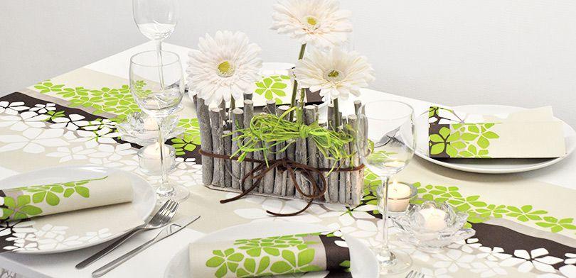 Tischdekoration Green Zen In Greige Grun Zum Geburtstag