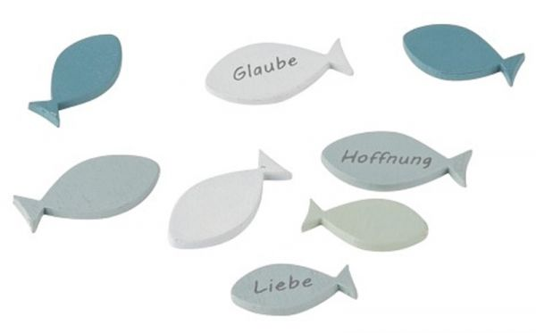 Fische Streudeko Blau Holz 2,5cm und 3cm 8 Stück bei Tischdeko-Shop.de