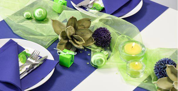 Tischdeko konfirmation blau grün  Tischdekoration in Grün mit weißer Spitze kaufen | Tischdeko-Shop