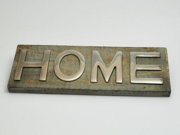 HOME Dekoelement Wanddeko Holzbrett mit Metall-Schriftzug